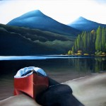 Bowron Lakes, Red Canoe, Mountains, Forest, Beach, Lake