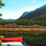 Bowron Lakes, Red Canoe, Mountains