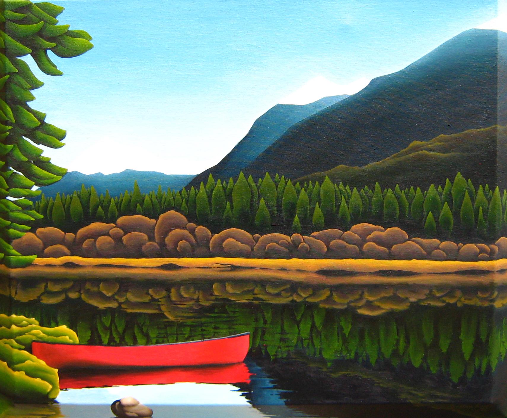 Bowron Lakes, Red Canoe, Mountains