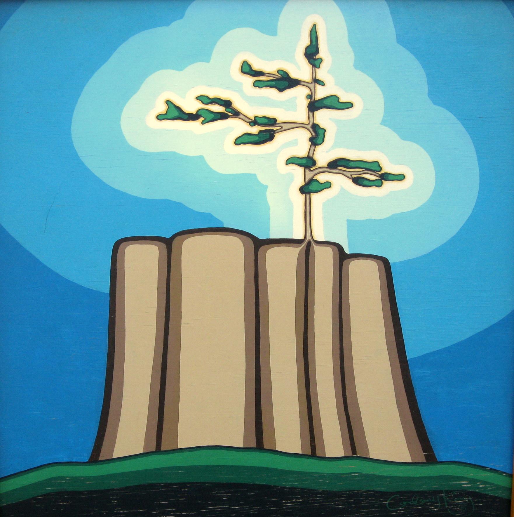 tree stump, sapling, vibrational art
